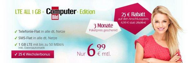 winSIM o2 Allnet Flat | SMS Flat | 1 GB LTE | 6,99 €/mtl. | 24 Monate Laufzeit | 3 Monate Grundgebührbefreiung | via COMPUTERBILD-Aktion