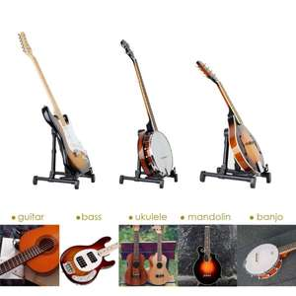 Mugig Verbesserte A-Frame Folding Travel Instrumente Ständer für Akustik / Elektro / Konzertgitarre , Ukulele, Bass, Mandoline, Banjo (schwarz)