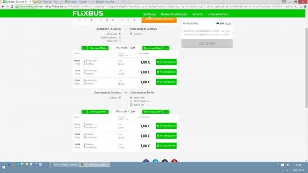 Flixbus Berlin - Cottbus 1 € bis eischließlich Juni