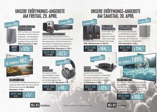 """[Lokal] Hifi-Klubben Hamburg Eröffnungsangebote (Bsp. Sony UHD-TV KD55-XD8505 für 100€, Sony 32"""" für 1€)"""