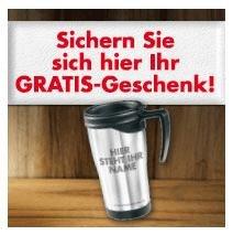 Gratis personalisierter Mehrweg-Kaffeebecher mit eigenem Namen (für Geschäftkunden)