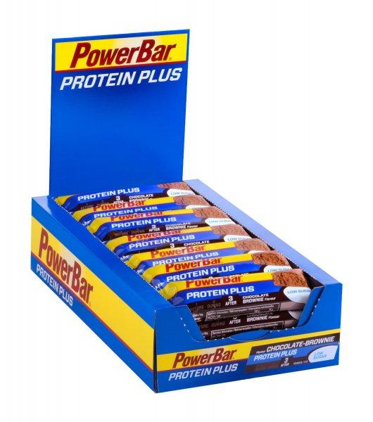 [Amazon Blitzangebot] PowerBar ProteinPlus Low Sugar Chocolate-Brownie 30 Stück (Proteinriegel mit 30% Eiweiß) für 22€