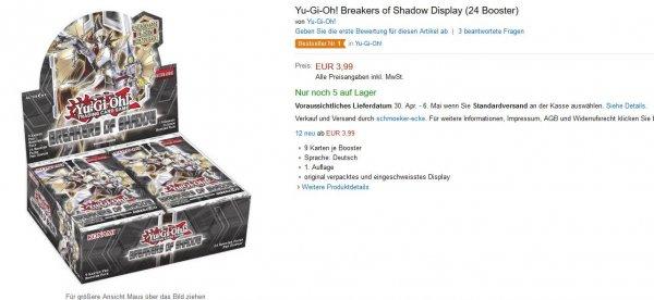 Yu-Gi-Oh! Breakers of Shadow Display (24 Booster) für 7,99, statt ~60€ Beschreibungs/Preisfehler