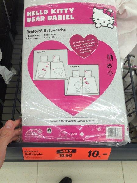 [Lidl] -49% Hello Kitty Bettwäsche Weiß/Rosa 2tlg 80x80 + 135x200 10€ Renforce Dear Daniel