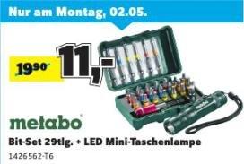 (Conrad Filialen) Metabo Bit-Set 29tlg. + LED Mini-Taschenlampe für 11€