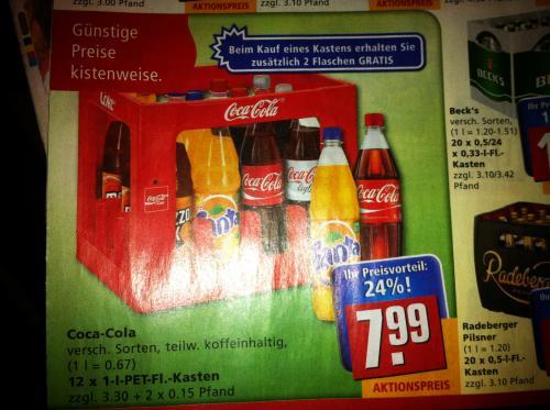 Lokal?! REWE Kiste CocaCola 1L + 2 ExtraFlaschen 7,99 + Pfand