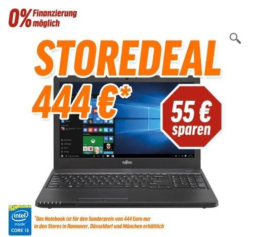 "(Hannover, Düsseldorf, München) Fujitsu LIFEBOOK A555, 15,6"" HD Display, Intel Core i3-5005U, 8GB RAM, 256GB SSD, Win 10 Home"