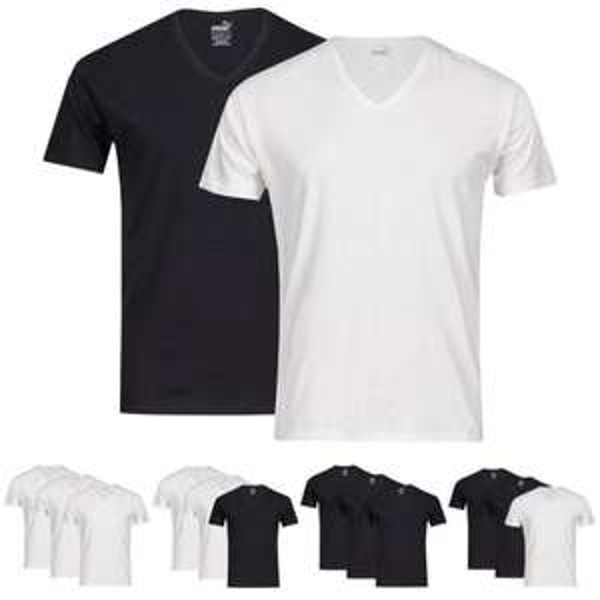 [@ebay] 6er-Pack Puma Herren V-Neck T-Shirts in schwarz oder weiß