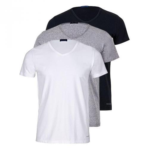 Tommy Hilfiger 3er Pack - Stretch V-Neck-T-Shirt - Mehrfarbig [weiß, grau, schwarz]