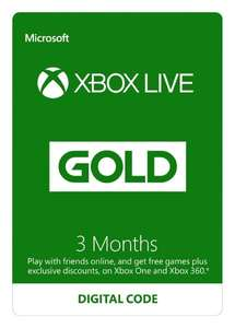 (Amazon.co.uk) Xbox Live Gold 3 Monate für 11,54€