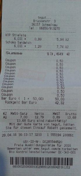 Tegut 49 Cent statt 99 Cent -> Mandel-Stieleis -> 3 Stk. je 120ml/ 0,79 Cent statt 129 Cent -> Botterbloom Collection Eis-Sandwich Vanilla -> 8 Stk. je 90 ml USW. !!! -> ALLE Haushaltspackungen oder Mulitpackungen