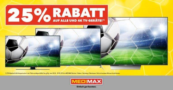 [MEDIMAX] 25% auf alle UHD 4K-Geräte in Bochum Haltern, Heinsberg und Oberhausen