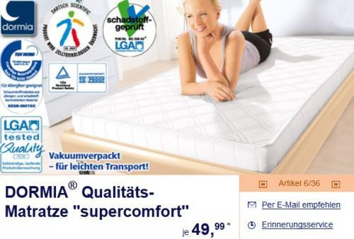 DORMIA® Qualitäts- Matratze x27x27supercomfortx27x27 90/100x200 @ Aldi Süd für 50€
