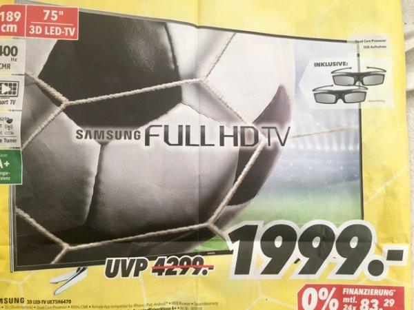 [Lokal Lüneburg] Medimax - Samsung TV UE75H6470 und einige andere Fernseher im Angebot