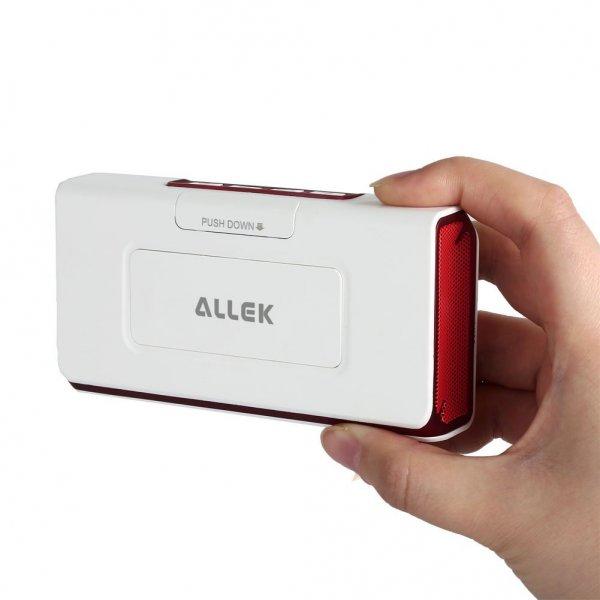 Allek® Aufladbarer Tragbarer Bluetooth Lautsprecher, Portable Bluetooth-Lautsprecher, kabelloser Stereolautsprecher, Mini Bluetooth Speaker, eingebautes Mikrofon (NFC-Funktion, AAC, aptX,integrierter Subwoofer)