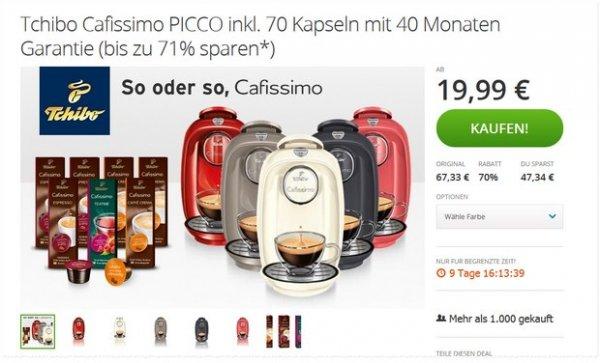 @Groupon: Tchibo Cafissimo PICCO inkl. 70 Kapseln mit 40 Monaten Garantie (71% sparen*) 22,98