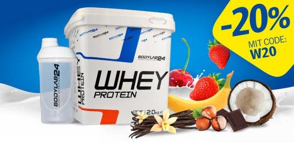 [Bodylab24] Whey Protein 2 Kg inkl. Shaker mit 20% Gutschein nur 23,92 € + evtl. VSK (4,90 €)