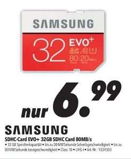 [Lokal Medimax Merseburg/Weißenfels] Samsung EVO+ 32GB microSDHC Card 80MB/s + Adapter für 6,99€