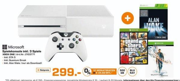 [Lokal Saturnmärkte Bremen] Microsoft XBOX One 500GB weiß Bundle, Quantum Break + Alan Wake (Download) + GTA 5 für 299,-€