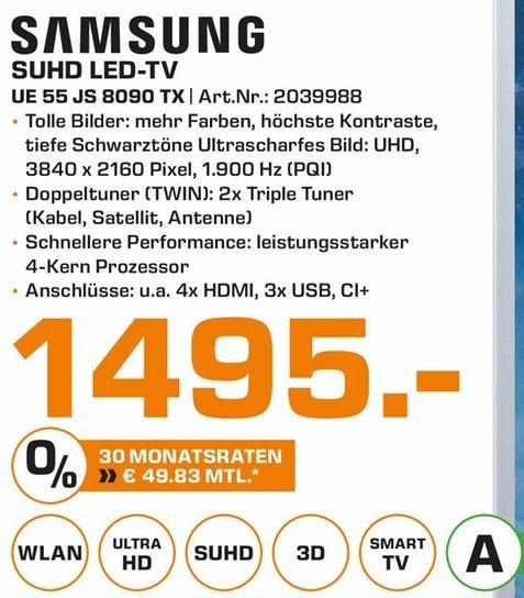 "[Lokal Saturn Karlsruhe] Samsung UE55JS8090 55"" UHD HDR TV 1495€"
