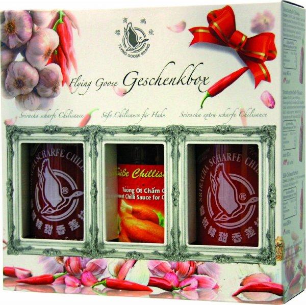 Flying Goose Sriracha Chillisaucen in Geschenkbox (Amazon Blitzangebote) 5,99€