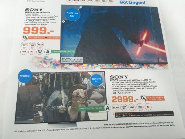 Sony KD55 X 8505CBAEP -999,- & SONY KD65 XD 9305C -2999,- - 14 Jahre Saturn Göttingen (lokal)
