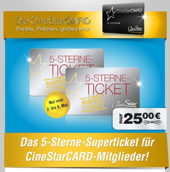 [ LOKAL ] -[ CineStarCARD Mitglieder ] - Schöne Kinostunden mit dem 5-Sterne-Superticket 25,00 Euro