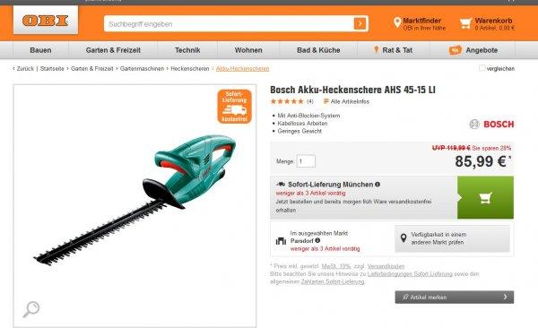 Bosch Akku-Heckenschere AHS 45-15 LI  bei OBI für 80,99
