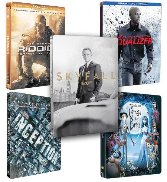 [Amazon.fr] 007 James Bond - Skyfall Steelbook 11,99€ (Blu-Ray, DVD, Postkarten) - dt. Ton | Corpse Bride, Inception, Riddick, Equalizer...