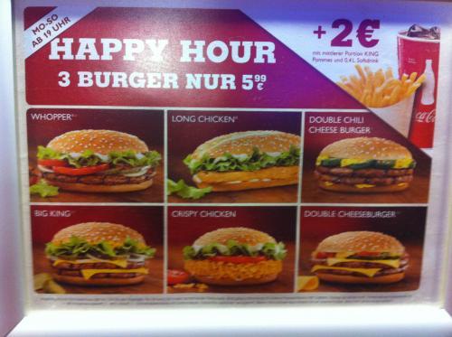 """Burger King """"Happy Hour"""" 3 Burger für 5,99 (alternativ +2Euro für mittlere Pommes und Getränk) ab 19 Uhr"""