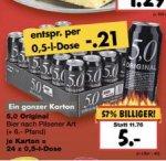 """[Kaufland Leipzig / Nürnberg / Freiburg / Oberasbach] 12 Liter """"Original 5,0 Pils"""" 24 x 0,5 Liter für 5€ (zzgl. Pfand) - ideal für Festivals"""