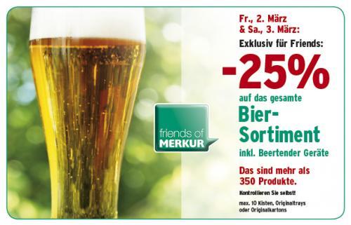 [Österreich] am Fr, Sa: - 25 % auf das gesamte Biersortiment bei Merkur [OFFLINE]