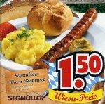 [Segmüller Weiterstadt - evtl. bundesweit] - Wiesn-Bratwurst + Senf + Kartoffelsalat + Semmel - Euro 1,50