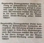[LOKAL Köln-Porz] Einwegpaletten (Holz) bei Abholung gratis