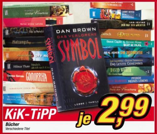"""[offline KIK] versch. Bücher 2,99 € z.B. """"Das verlorene Symbol"""" von Dan Brown"""