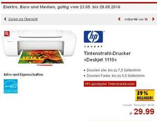 [Kaufland] HP Deskjet 1110 Tintenstrahl Drucker für 29,99€ inkl. Patronen