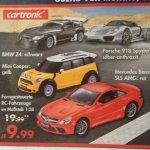 Karstadt (offline): cartronic RC-Fahrzeuge 1:24 (Porsche Spyder/ BMW/ Mercedes/ Mini Cooper) für 9,99€ (nächster idealo ~23,-€/~28,-€)
