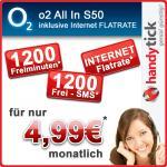 o2 Tarif mit 50 Freiminuten & 50 Frei SMS + InternetFlat für rechnerische 4,99€ / Monat