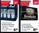 Edeka Zurheide (OB, BOT, GLA, D): Gerolsteiner 12*1l PET 4,44€; Krombacher 20*0,5 9,44€