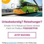 Flixbus 10% Gutschein (bis 30.06.16)