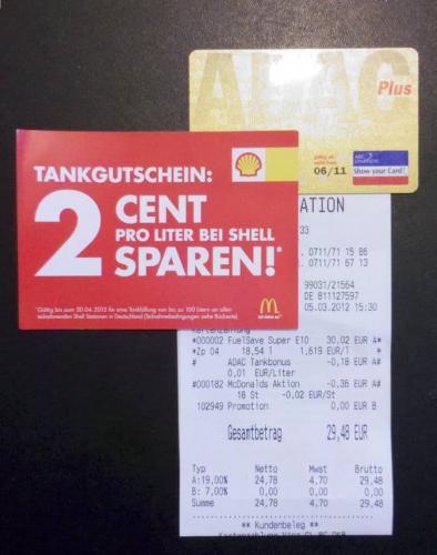 bis zu 3Cent/Liter bei Shell mit McDonalds und ADAC sparen