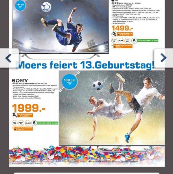 Saturn Moers wird 13. Sony 75 W 855 1999€