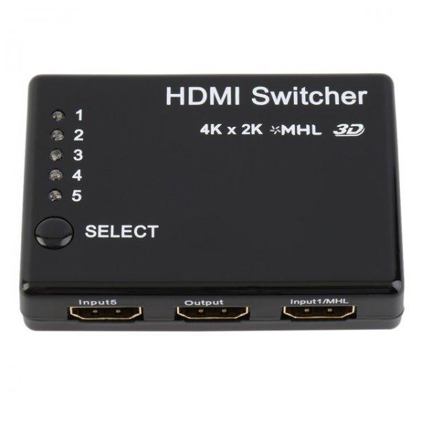 [Ebay + Aliexpress] HDMI Switch mit HDMI 1.4b (4K@30Hz) mit 3 In / 1 Out ab 3,10€ oder mit 5 In (inkl. 3D + MHL) / 1 Out für 7,89€