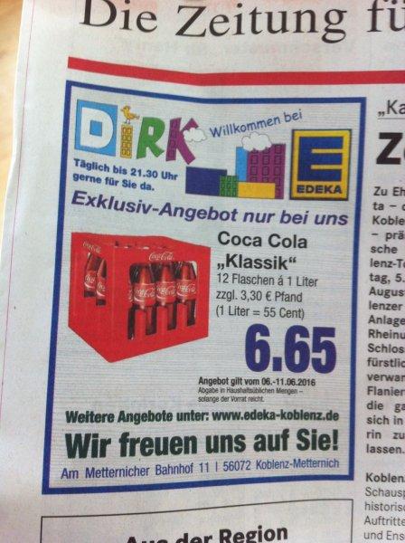 [LOKAL KOBLENZ EDEKA] Coca Cola für 6,65€ (0,55€/Liter)