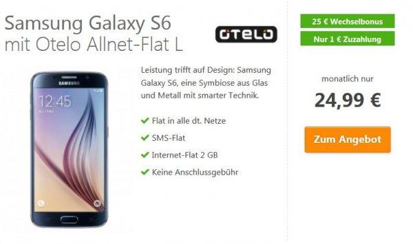 Samsung Galaxy S6 für 1 € mit Otelo Allnet-Flat L 2 GB (Vodafone-Netz) 24,99€/Monat