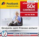 Postbank Giro plus: Komplett kostenloses Girokonto mit bis zu 250€ Prämie für Neukunden+ 50€ Cashback