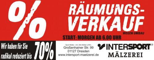 Räumungsverkauf Intersport Mälzerei Dresden - lokal