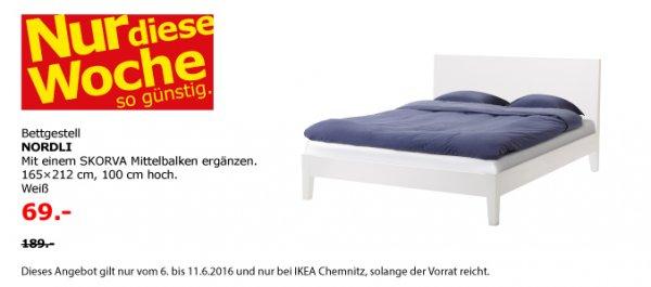 [lokal] IKEA Chemnitz, Bettgestell NORDLI 165 x 212, evtl. zzgl. Mittelbalken(10€), Weiß