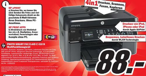 HP Photosmart Premium Fax e-All-in-One C410b Drucker 88 € @ Media Markt (Lokal Berlin)