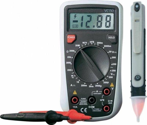 Hand-Multimeter VC130-1 inkl. Spannungsprüfer MS-400 + 1kg Trolli saure Würner